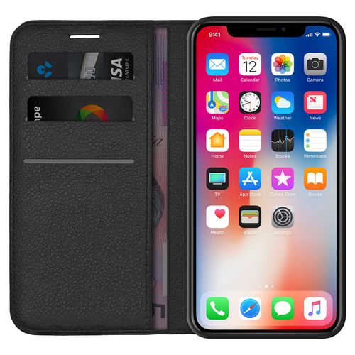 Leather Wallet Case & Card Holder Pouch - Apple iPhone X / Xs - Black
